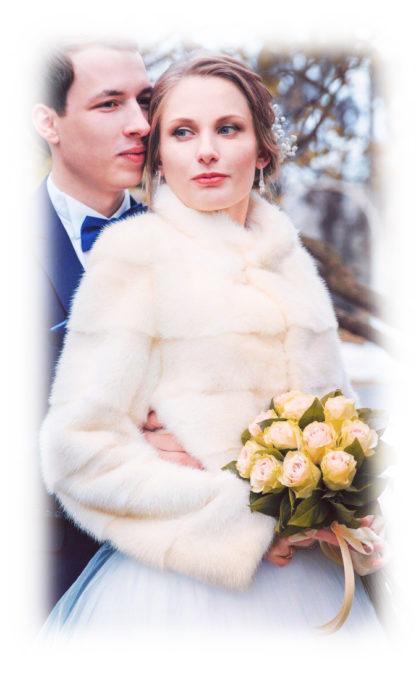 Свадебная шубка из норки-поперечки со стойкой модель НМ91 фото