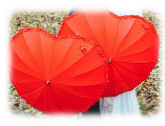 Красный зонт Сердце модель Знт04 фото