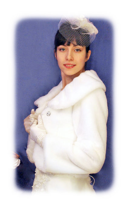 Свадебная белая шубка маленького размера фото модель ИМ39