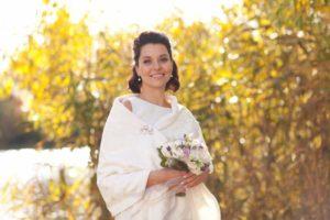 Тканевый свадебный палантин на лето